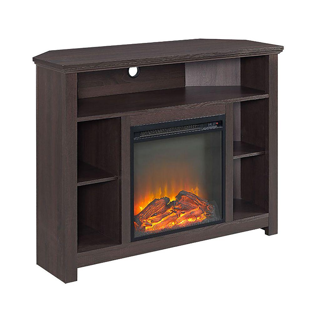 walker edison meuble tv chemin e commode mont e d 39 angle en bois espresso de 111 cm 44 po. Black Bedroom Furniture Sets. Home Design Ideas