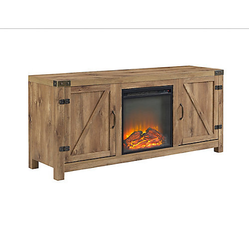 Farmhouse Barn Door Fireplace TV Stand for TV's up to 64 inch - Barnwood