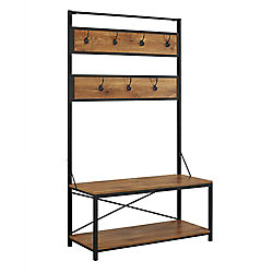Walker Edison Farmhouse Entry Bench and Mudroom Hall Tree with Hooks - Barnwood