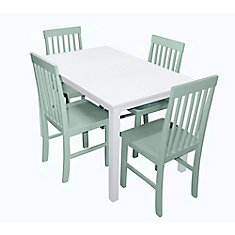 5-Piece White Wood Kitchen Dining Set - Sage