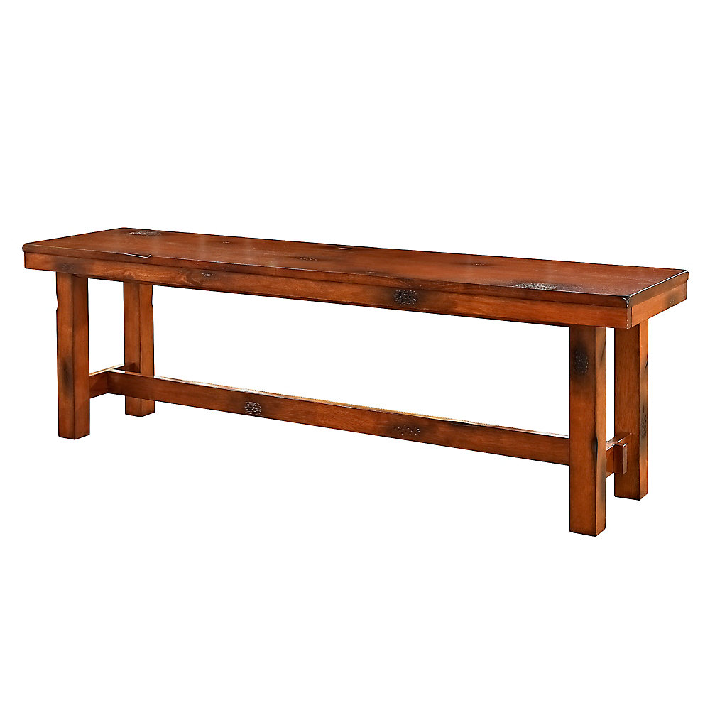 3 Person Rustic Wood Dining Bench - Dark Oak