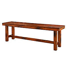 60-inch Distressed Dark Oak Wood Bench