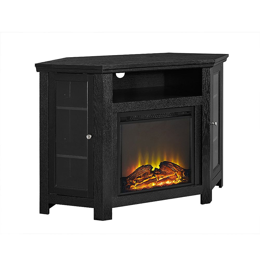 Walker Edison Tall Corner Fireplace TV Stand for TV's up to 52 inch - Black