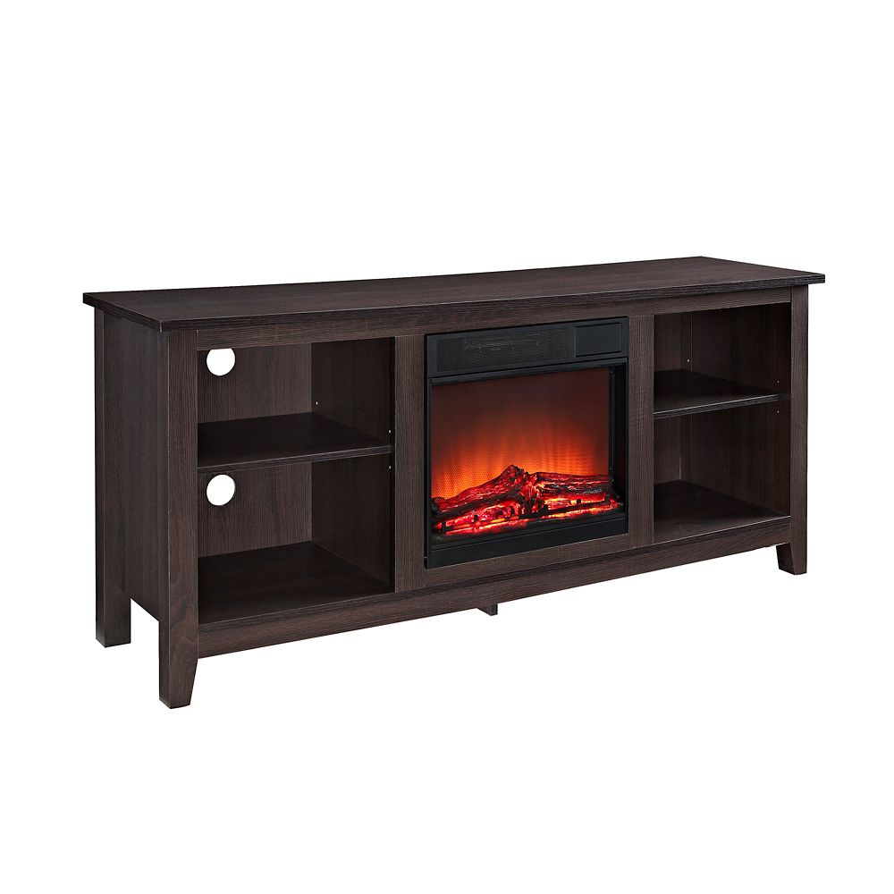 Walker Edison 58-inch Wood TV Stand Console with Fireplace - Espresso