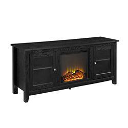 Walker Edison Console pour média de télévision en bois de 147,32 cm (58 po) avec cheminée en Noir de