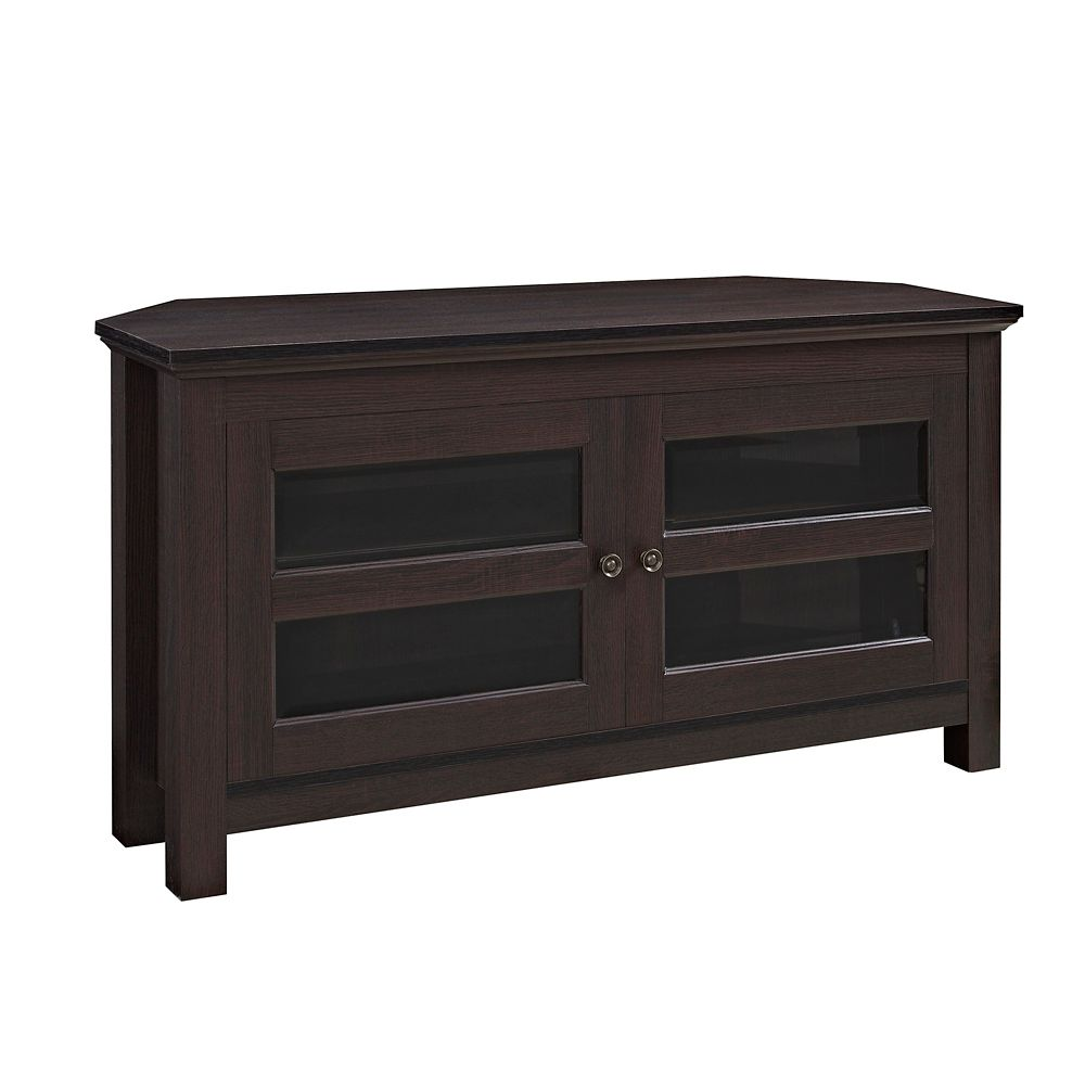Walker Edison 44-inch Wood Corner TV Media Stand Storage Console - Espresso
