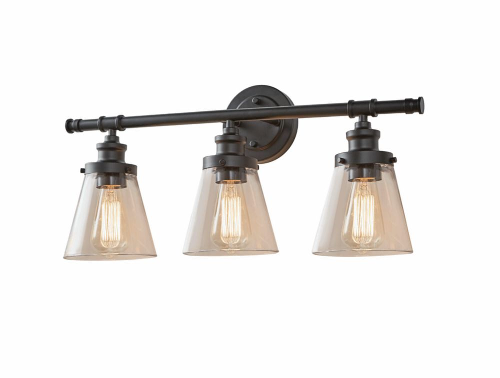 Home Decorators Collection 3-Light Oil Rubbed Bronze Vanity Light with Clear Glass Shades
