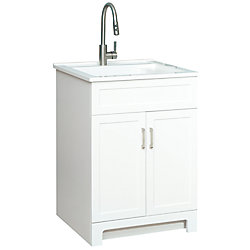 GLACIER BAY All in One 25-inch 2-Door Laundry Cabinet with Composite Sink