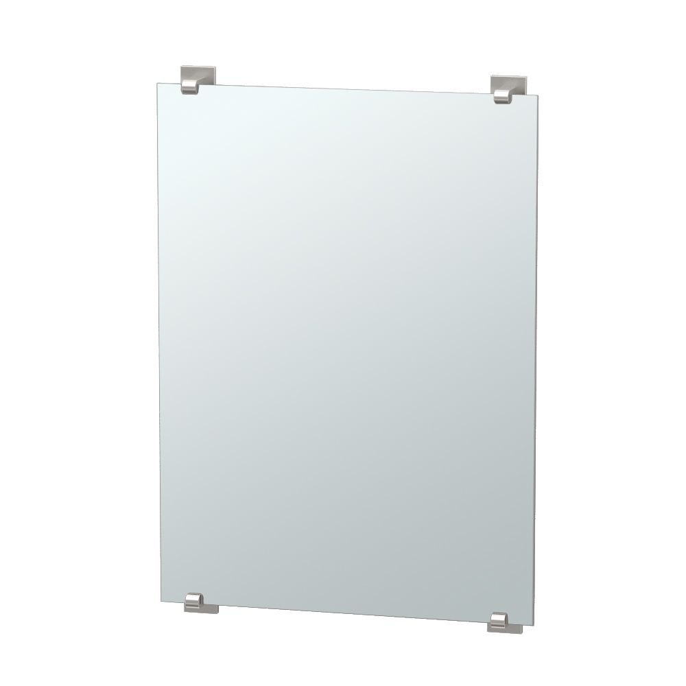 Gatco Elevate 30 inch H Frameless Minimalist Rectangle Mirror Satin Nickel