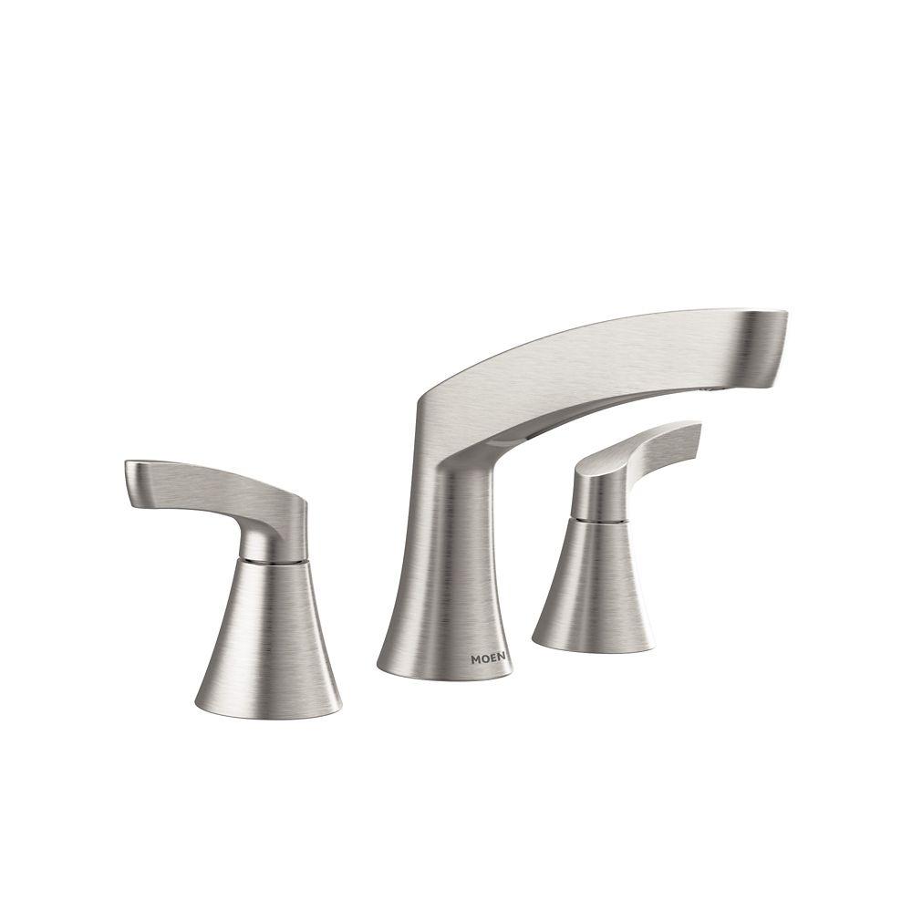 Moen danika 8 inch widespread 2 handle bathroom faucet in - 8 inch brushed nickel bathroom faucet ...