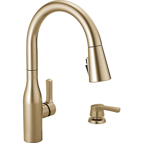 Marca Single-Handle Pull-Down Sprayer Kitchen Faucet with ShieldSpray Technology in Champagne Bronze