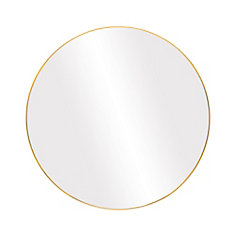 Infinity Round 28-inch Wall-Mounted Mirror in Satin Gold