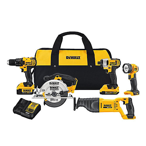 20V MAX Lithium-Ion Cordless Combo Kit (5-Tool) with 2Ah and 4Ah Batteries and Tool Bag