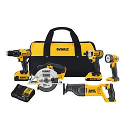 DEWALT 20V MAX Lithium-Ion Cordless Combo Kit (5-Tool) with 2Ah and 4Ah Batteries and Tool Bag