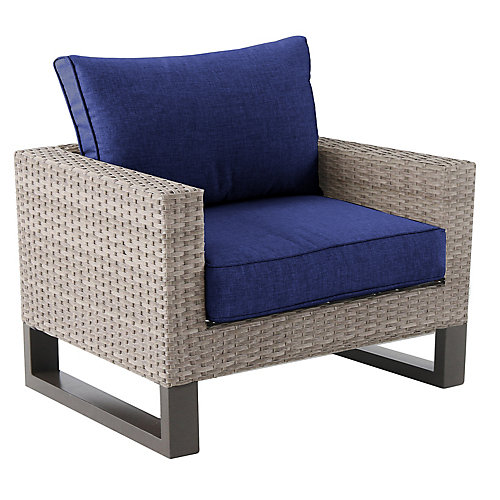 Park Heights Navy Wicker Patio Club Chair with Cushion
