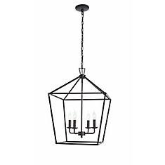 4-Light Cage Pendant Light Fixture in Black
