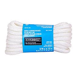 Everbilt 3/8po x15pi Amarre blanc en Nylon double tressé avec épissure 10po fait à la main
