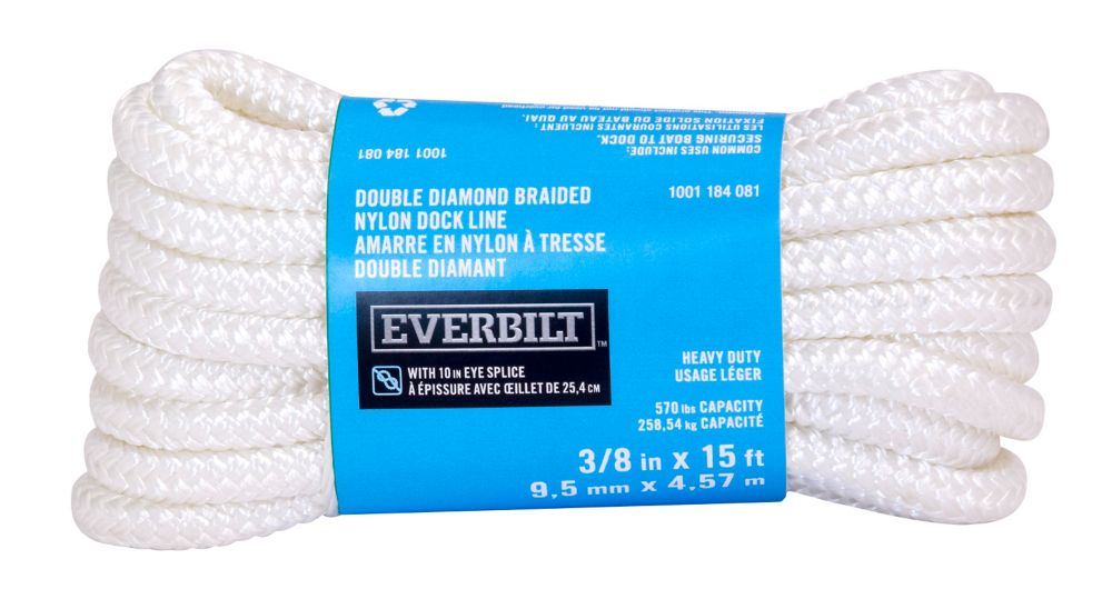 Everbilt 3/8-inch x 15-ft. White Nylon Double Braid Dock Line with Professionally Spliced 10-inch Eye Loop