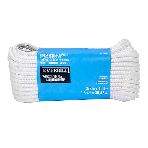 3/8-inch x 100-ft. White Nylon Double Braid Anchor Line with Spliced 3/8-inch Stainless Steel Thimble