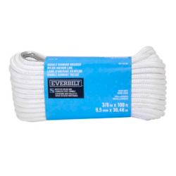 Everbilt 3/8-inch x 100-ft. White Nylon Double Braid Anchor Line with Spliced 3/8-inch Stainless Steel Thimble