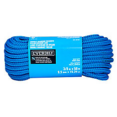 3/8-inch x 50-ft. Blue Nylon Double Braid Anchor Line with Spliced 3/8-inch Stainless Steel Thimble