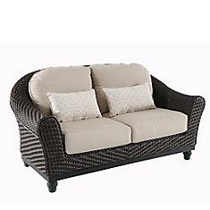 Camden Dark Brown Wicker Outdoor Patio Loveseat with Sunbrella Antique Beige Cushions
