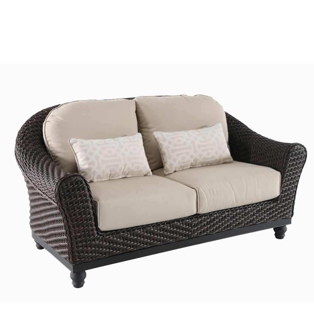 Home Decorators Collection Camden Dark Brown Wicker Outdoor Patio Loveseat with Sunbrella Antique Beige Cushions