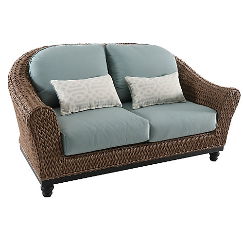 Camden Wicker Outdoor Patio Loveseat in Light Brown with Sunbrella Canvas Spa Cushions