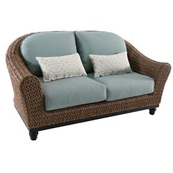 Home Decorators Collection Camden Wicker Outdoor Patio Loveseat in Light Brown with Sunbrella Canvas Spa Cushions