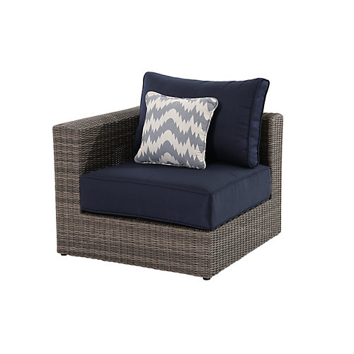 Naples Grey All-Weather Wicker Left/Right Arm Outdoor Patio Sectional Chair with Navy Cushions