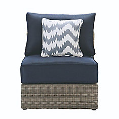 Naples Grey All-Weather Wicker Armless Middle Outdoor Patio Sectional Chair with Navy Cushions
