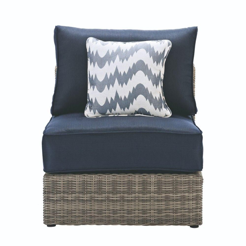 Home Decorators Collection Naples Grey All-Weather Wicker Armless Middle Outdoor Patio Sectional Chair with Navy Cushions