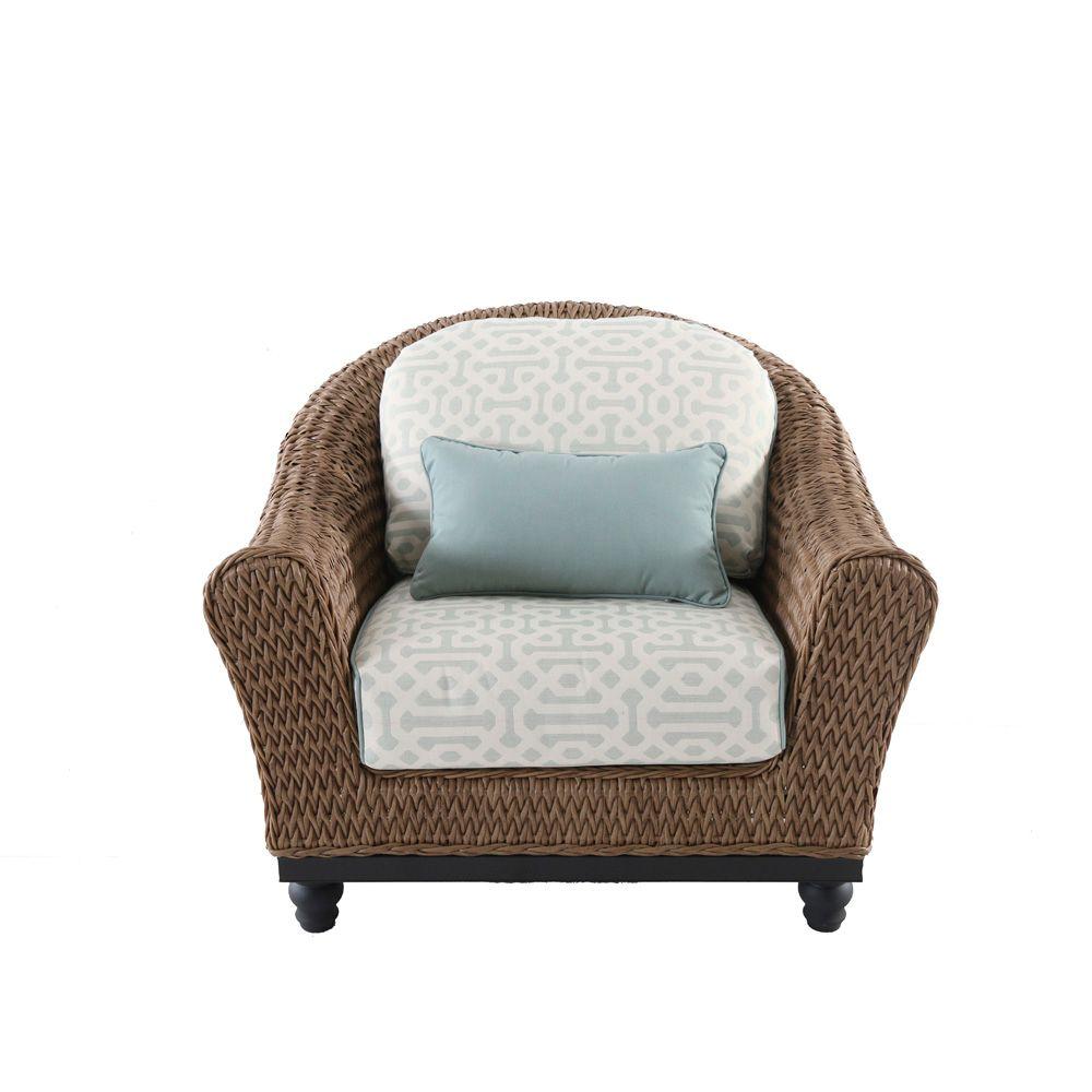 Excellent Camden Wicker Patio Lounge Chair In Light Brown With Sunbrella Fretwork Mist Cushion Set Of 2 Creativecarmelina Interior Chair Design Creativecarmelinacom