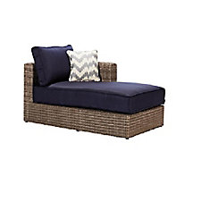 Naples Grey All-Weather Wicker Left Arm Outdoor Patio Sectional Chaise with Navy Cushions