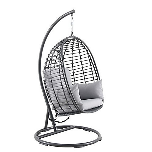 Woven Egg Swing with Seat, Back, and Armrest Cushion