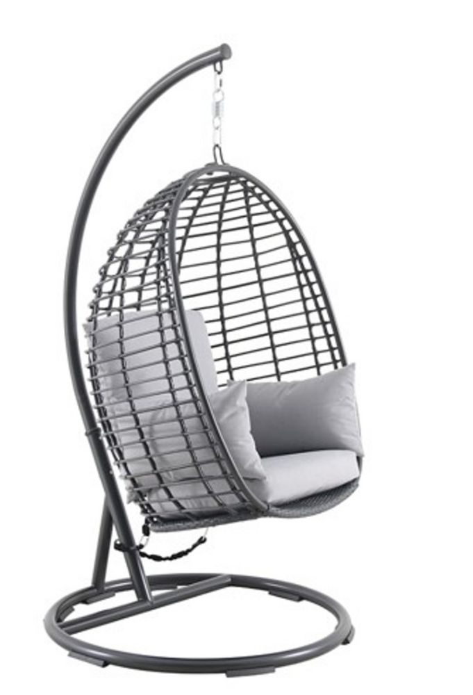 Hampton Bay Woven Egg Swing with Seat, Back, and Armrest Cushion