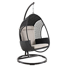 Brown Woven Egg Swing with Seat and Back Cushion