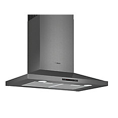 800 Series - 30 inch Pyramid Canopy Chimney Hood - 600 CFM - Black Stainless Steel