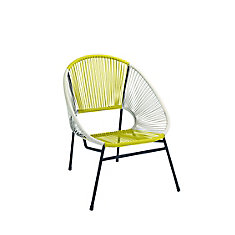 Chaise en forme d'oeuf tressee empilable - jaune