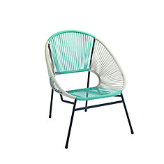 Chaise en forme d'oeuf tressee empilable - bleu