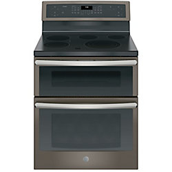 GE Profile 30-inch 6.6 Cu. ft. Double Oven Electric Convection Range with Self-Cleaning in Slate