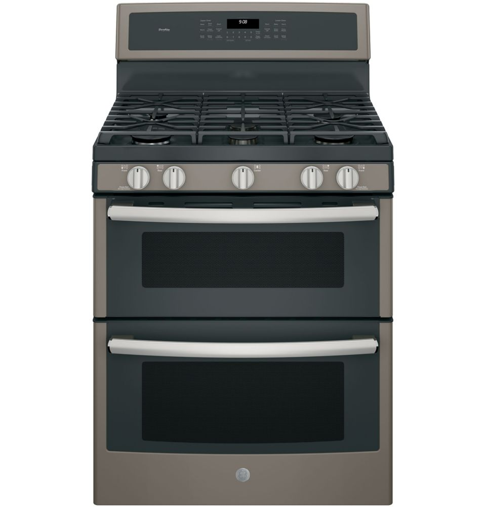 GE Profile 30 inch Free-Standing Gas Double Oven Convection Range - Slate