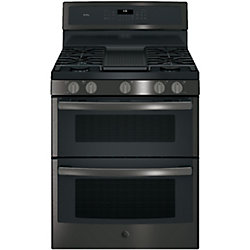 GE Profile 30-inch 6.8 cu. ft. Double Oven Gas Range with Self-Cleaning Convection Oven in Black Stainless Steel