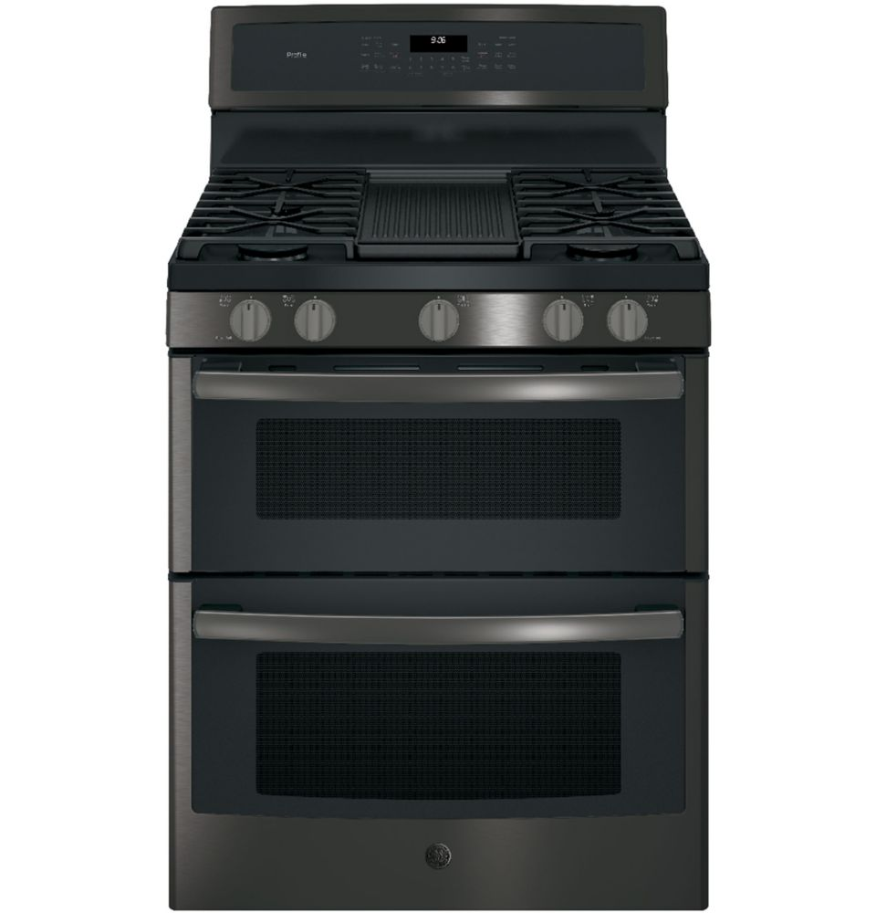 GE Profile 30 inch Free-Standing Gas Double Oven Convection Range - Black Stainless Steel