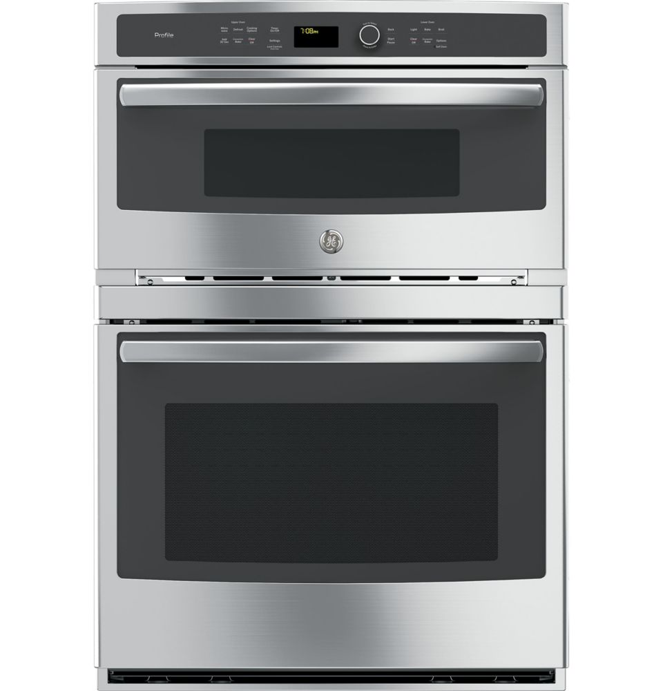 Profile 30 in. Double Electric Wall Oven with Convection Self-Cleaning and Built-In Microwave in Stainless Steel