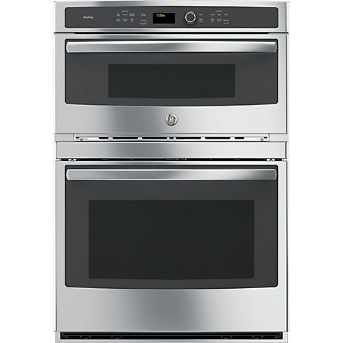 30-inch W Double Electric Wall Oven with Convection Self-Cleaning and Built-In Microwave in Stainless Steel