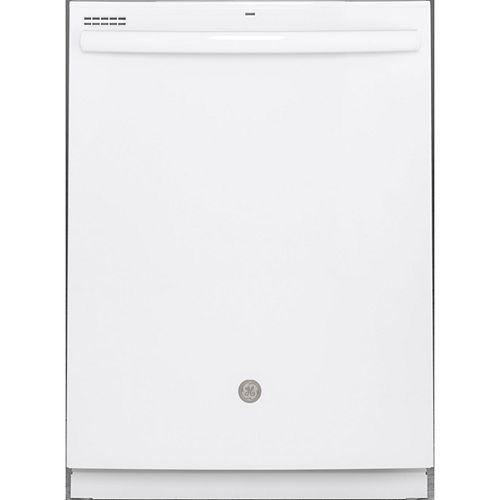 GE Lave-vaisselle à cuve haute encastrée Top Control de 24 po en blanc avec nettoyage à la vapeur