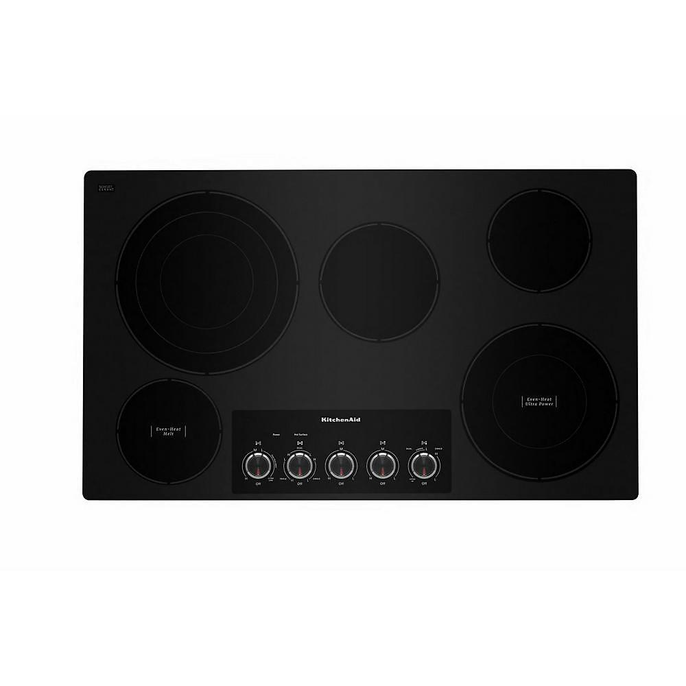 Table de cuisson électrique de 36 pouces en noir avec 5 éléments et boutons de commande