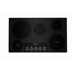 KitchenAid 36-inch Electric Cooktop in Black with 5 Elements and Knob Controls
