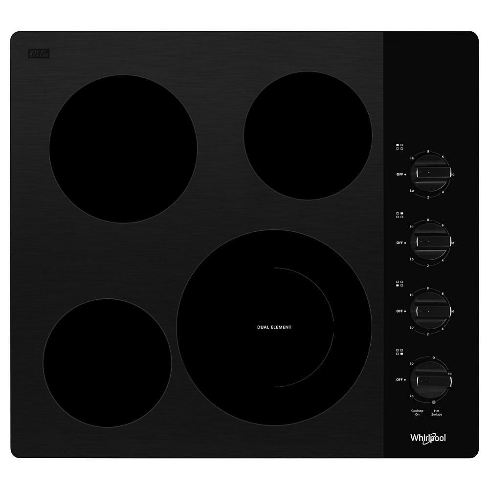 Table de cuisson électrique compacte de 24 pouces en noir avec 4 éléments